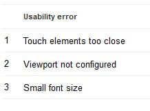 mobile usability errors mobile friendly website design