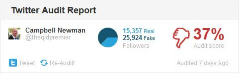 Campbell Newman fake twitter followers - qld state election