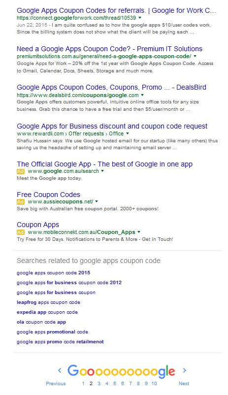 position 18 google rankings on need a google apps coupon code